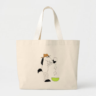 Cartoon Horse With Ranch Dressing Large Tote Bag