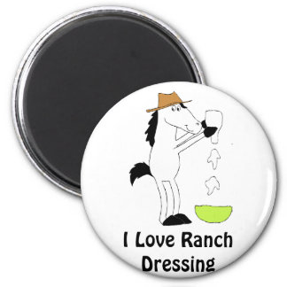 Cartoon Horse With Ranch Dressing Magnet