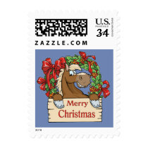 Cartoon Horse With Wreath And Merry Christmas Sign Postage