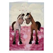 Cartoon Horses Valentine's Card