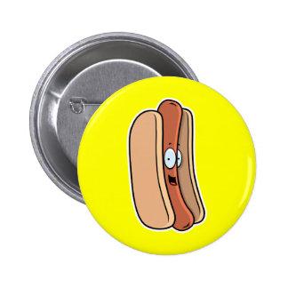 Cartoon Hot Dog Pinback Button