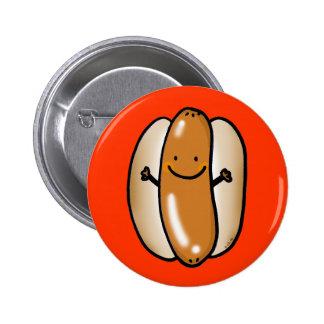 cartoon hot dog sausage pinback button