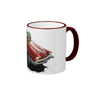 Cartoon hot rod Chevy Ringer Coffee Mug