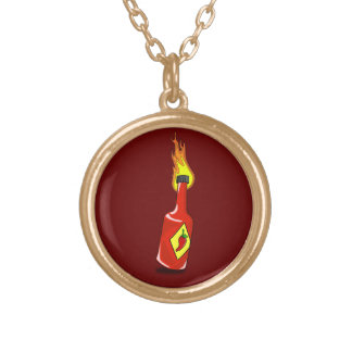 Cartoon Hot Sauce Round Pendant Necklace