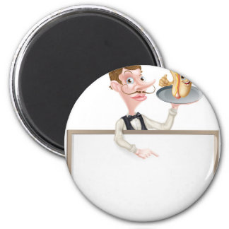 Cartoon Hotdog Waiter Butler Signboard Magnet