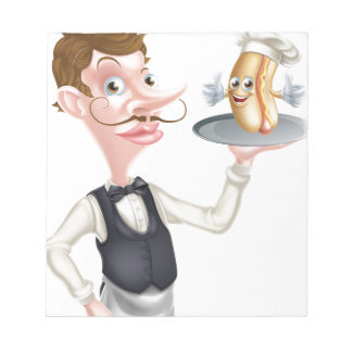 Cartoon Hotdog Waiter Notepad