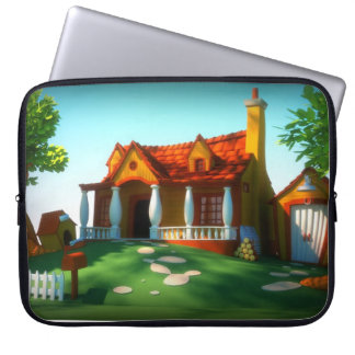 Cartoon House Laptop Sleeve
