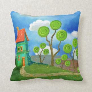cartoon house throwpillow throw pillow