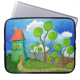 cartoon houses electronicsbag laptop sleeve