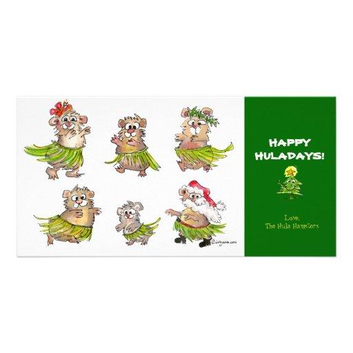 Cartoon Hula Hamsters Christmas Card Personalized Photo Card