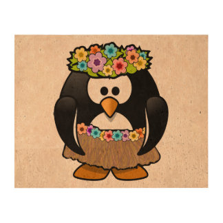 Cartoon Hula Penguin Cork Fabric