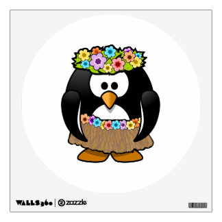 Cartoon Hula Penguin Wall Skins