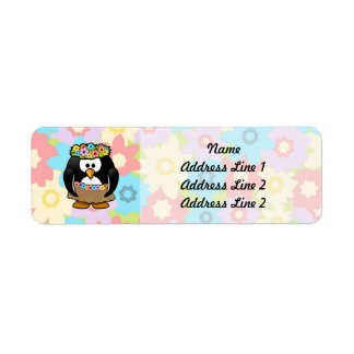 Cartoon Hula Penguin With Flowers Label