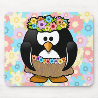 Cartoon Hula Penguin With Flowers Mouse Pad