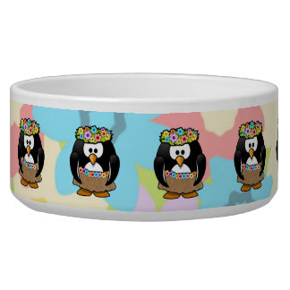 Cartoon Hula Penguin With Flowers Pet Water Bowls