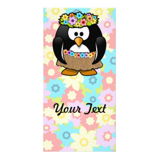 Cartoon Hula Penguin With Flowers Picture Card