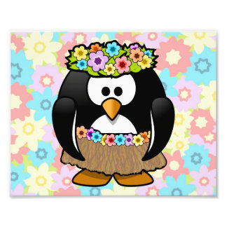 Cartoon Hula Penguin With Flowers Photo