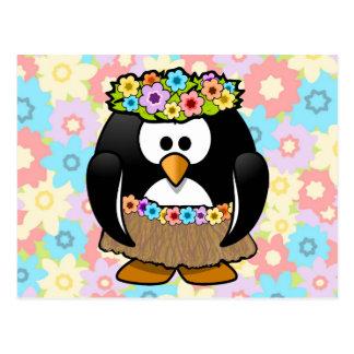 Cartoon Hula Penguin With Flowers Postcard