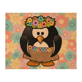 Cartoon Hula Penguin With Flowers Cork Paper Print