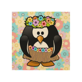 Cartoon Hula Penguin With Flowers Wood Print