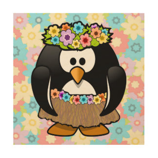 Cartoon Hula Penguin With Flowers Wood Canvases