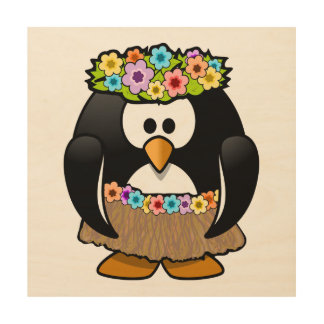 Cartoon Hula Penguin Wood Print