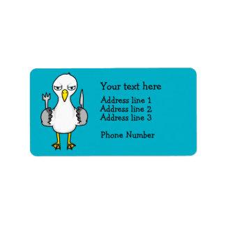Cartoon Hungry Seagull Address Label