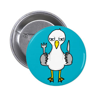 Cartoon Hungry Seagull Pinback Button