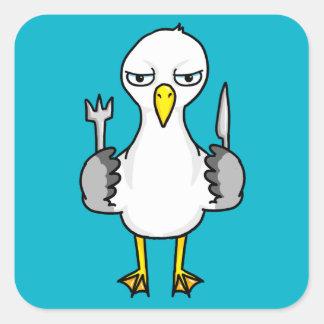 Cartoon Hungry Seagull Square Sticker