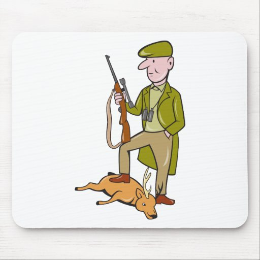 Cartoon Hunter With Rifle Standing on Deer Mouse Pad
