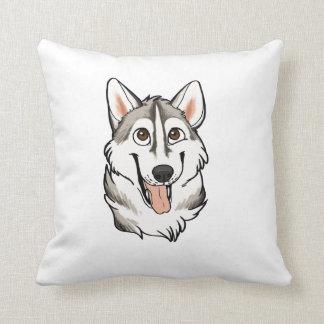Cartoon Husky Dog Throw Pillow