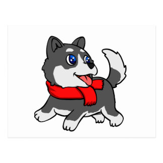 Cartoon husky puppy with scarf postcard