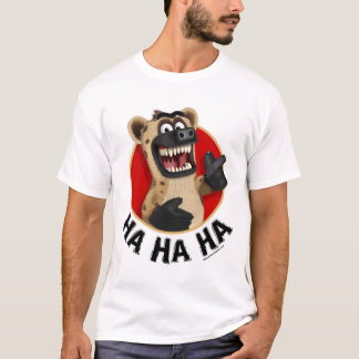 Cartoon Hyena Animal on White Material T-Shirt