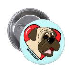 Cartoon I Love my Bullmastiff Buttons