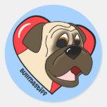 Cartoon I Love my Bullmastiff Stickers