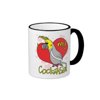 Cartoon I Love my Cockatiel Ringer Mug