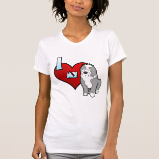Cartoon I Love my Old English Sheepdog Ladies T-Shirt
