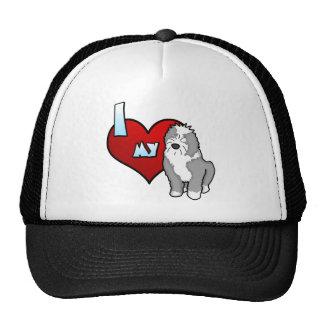Cartoon I Love my Old English Sheepdog Trucker Hat