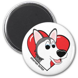 Cartoon I Love my Siberian Husky 2 Inch Round Magnet