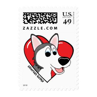 Cartoon I Love my Siberian Husky Postage Stamp