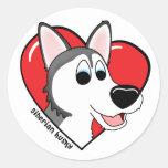 Cartoon I Love my Siberian Husky Stickers