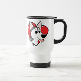 Cartoon I Love my Siberian Husky Travel Mug