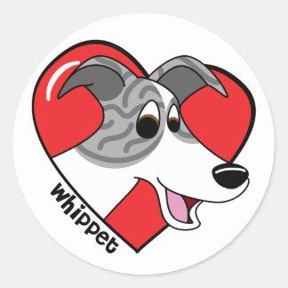 Cartoon I Love my Whippet Classic Round Sticker