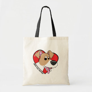 Cartoon I Love my Wire Fox Terrier Tote Bag