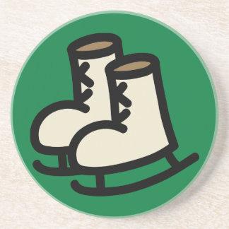 Cartoon Ice Skates Holiday Icons Coaster