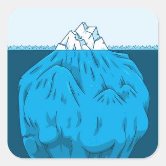Cartoon Iceberg Under Water Square Sticker