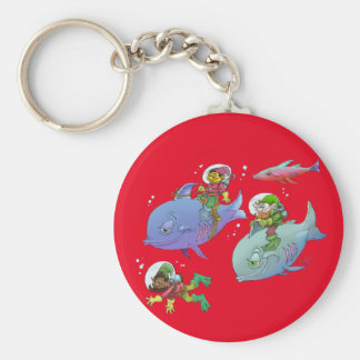Cartoon illustration Gnomes and there fish friends Keychain