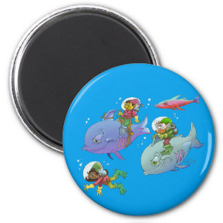 Cartoon illustration Gnomes and there fish friends Magnet