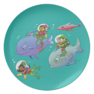Cartoon illustration Gnomes and there fish friends Melamine Plate