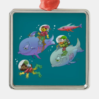 Cartoon illustration Gnomes and there fish friends Metal Ornament